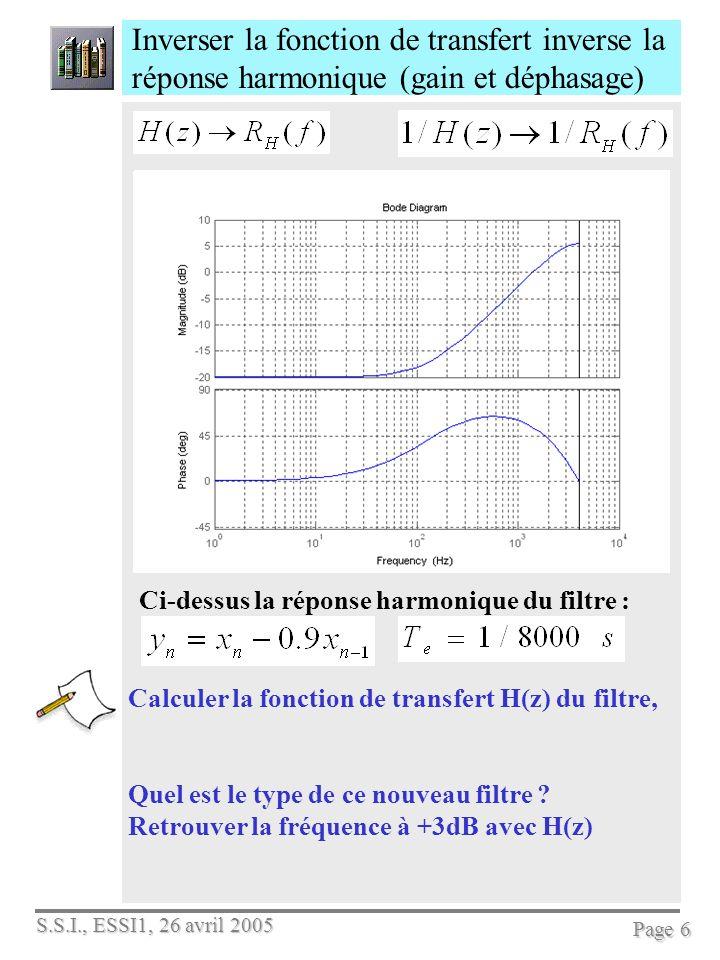 S.S.I., ESSI1, 26 avril 2005 Page 7 On sait calculer le filtre récursif F 2 (z) du second ordre pour créer des résonances Mesurer la hauteur et la fréquence de la réso- nance, le gain statique, quobtient-on si =0 .