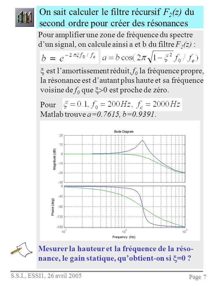 S.S.I., ESSI1, 26 avril 2005 Page 7 On sait calculer le filtre récursif F 2 (z) du second ordre pour créer des résonances Mesurer la hauteur et la fré