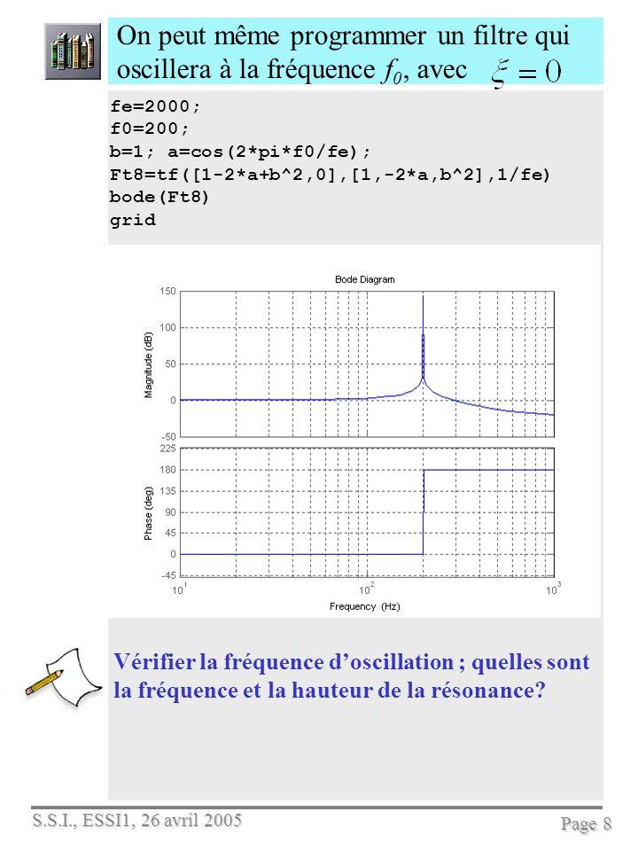 S.S.I., ESSI1, 26 avril 2005 Page 8 On peut même programmer un filtre qui oscillera à la fréquence f 0, avec Vérifier la fréquence doscillation ; quel