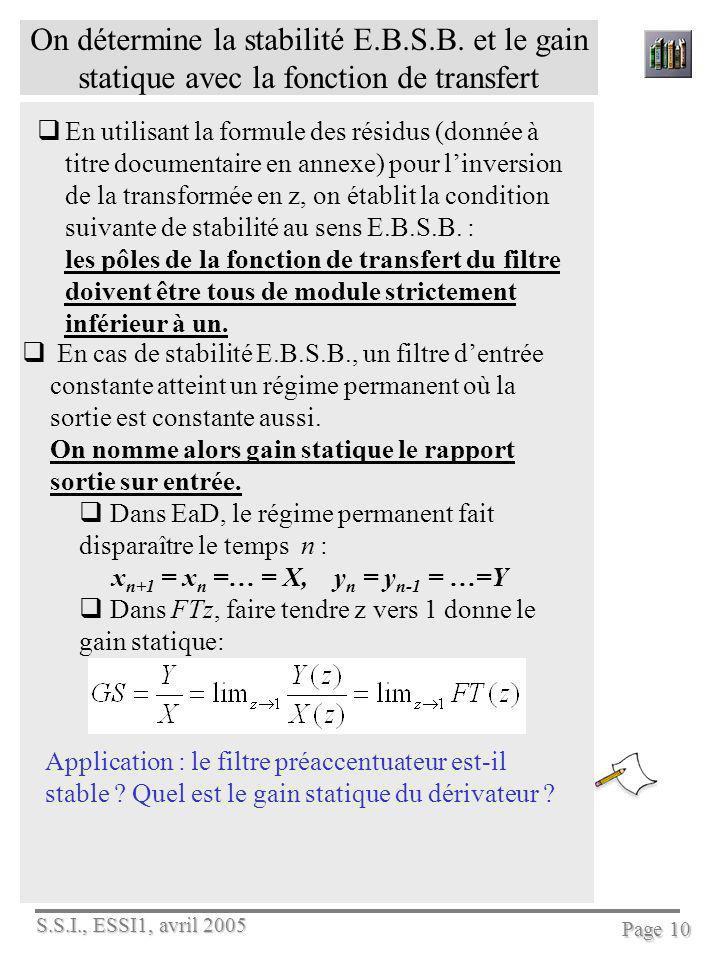 S.S.I., ESSI1, avril 2005 Page 10 On détermine la stabilité E.B.S.B. et le gain statique avec la fonction de transfert En utilisant la formule des rés