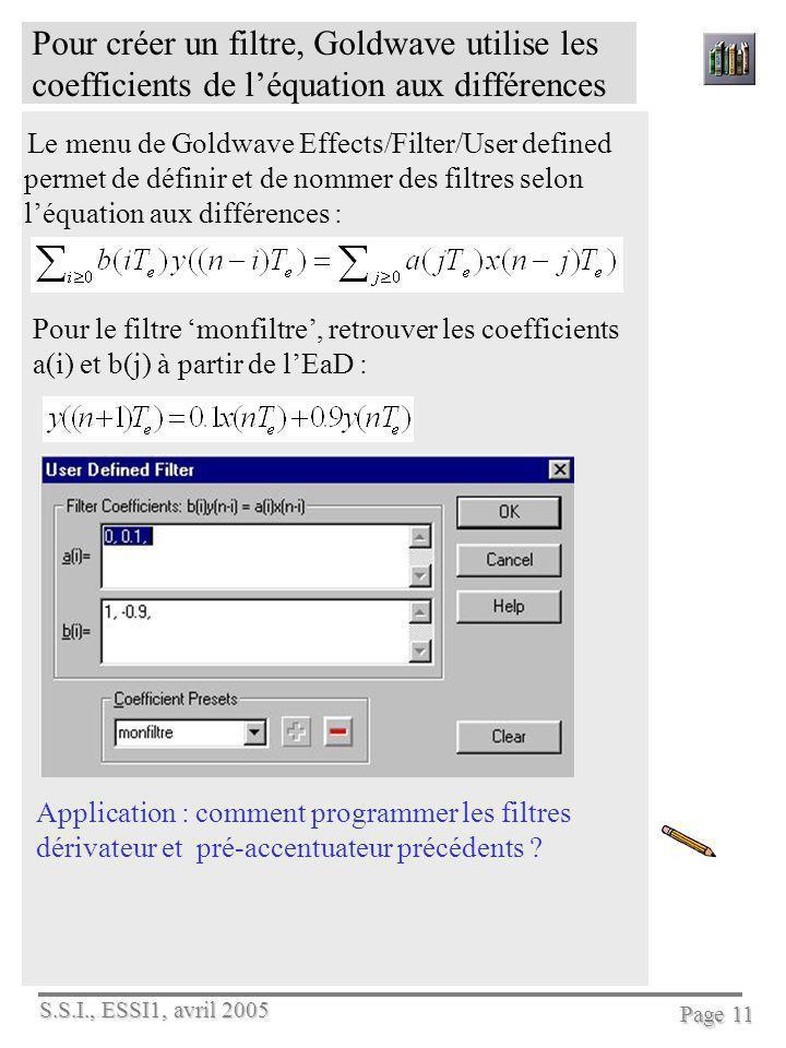 S.S.I., ESSI1, avril 2005 Page 11 Pour créer un filtre, Goldwave utilise les coefficients de léquation aux différences Le menu de Goldwave Effects/Fil