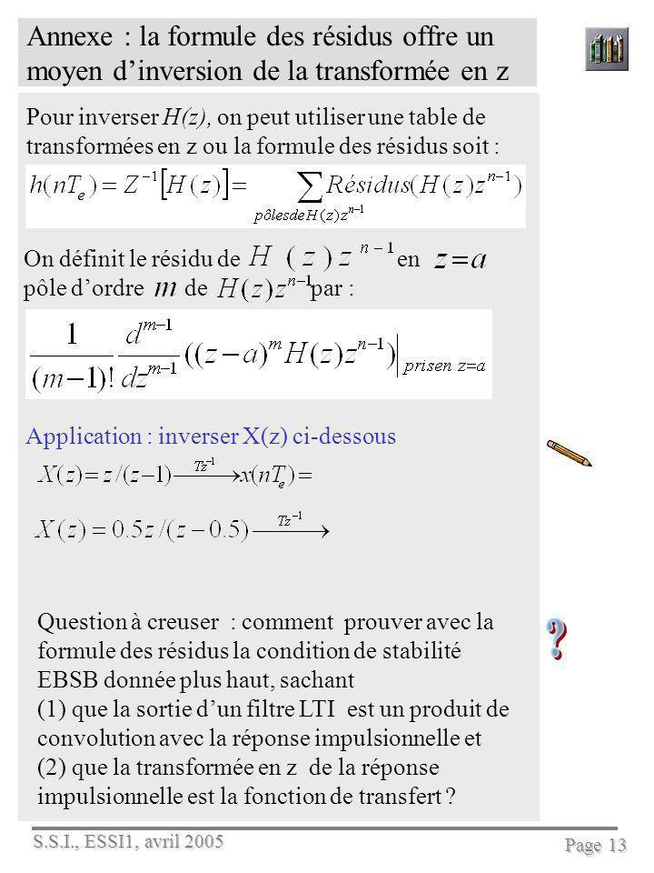S.S.I., ESSI1, avril 2005 Page 13 Annexe : la formule des résidus offre un moyen dinversion de la transformée en z Pour inverser H(z), on peut utilise