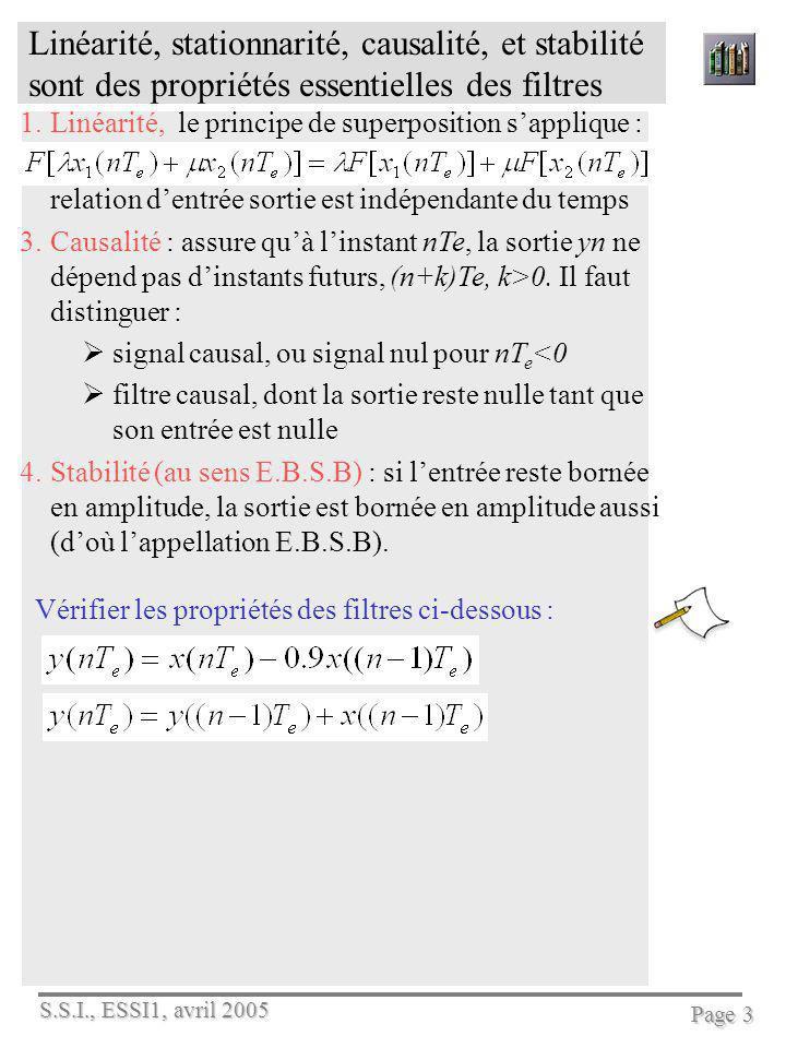 S.S.I., ESSI1, avril 2005 Page 4 Léquation aux différences (ou EaD) permet de programmer un filtre Voici la forme générale dune EaD On note léchantillon ou la valeur Les b k et les a j sont les coefficients du filtre, On note N lordre du filtre, et M+N sa longueur Les x j constituent le signal dentrée du filtre et les y k le signal de sortie ou signal filtré.