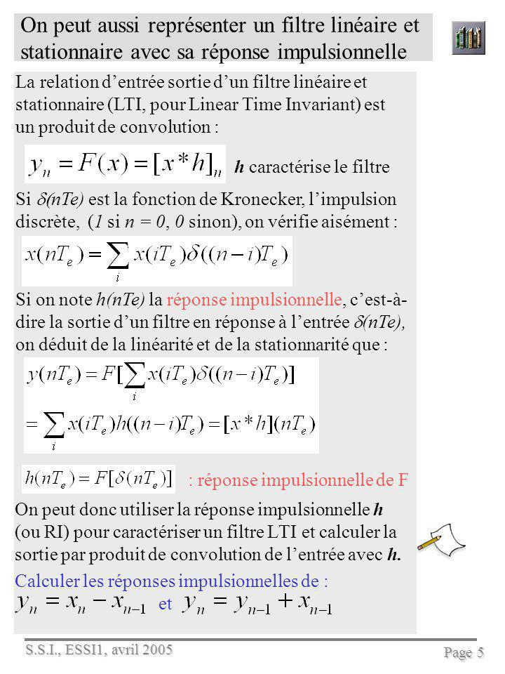 S.S.I., ESSI1, avril 2005 Page 5 On peut aussi représenter un filtre linéaire et stationnaire avec sa réponse impulsionnelle On peut donc utiliser la