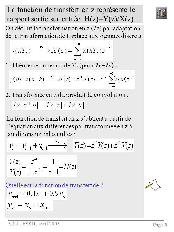 S.S.I., ESSI1, avril 2005 Page 6 La fonction de transfert en z représente le rapport sortie sur entrée H(z)=Y(z)/X(z). On définit la transformation en