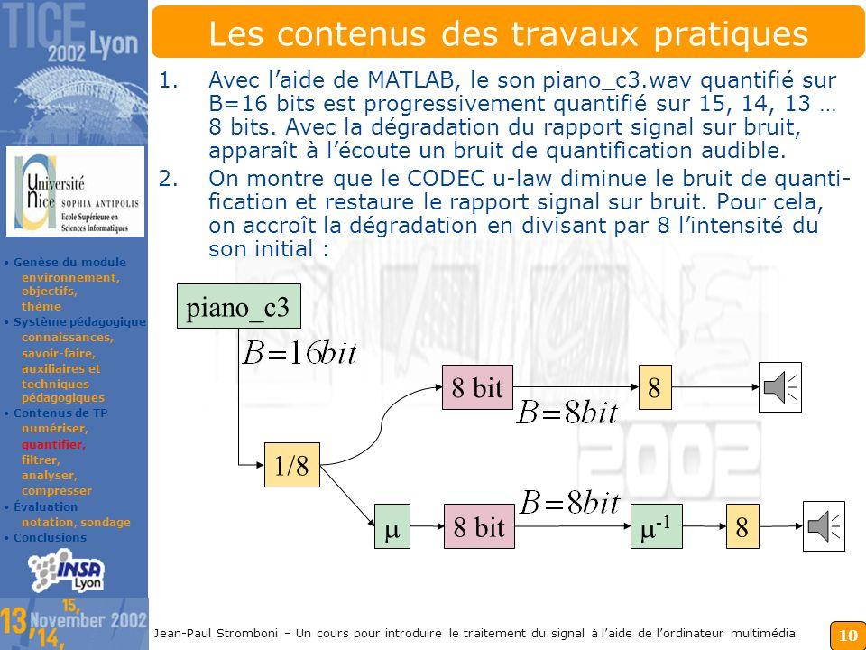 9 Jean-Paul Stromboni – Un cours pour introduire le traitement du signal à laide de lordinateur multimédia Les contenus des travaux pratiques Pour ana