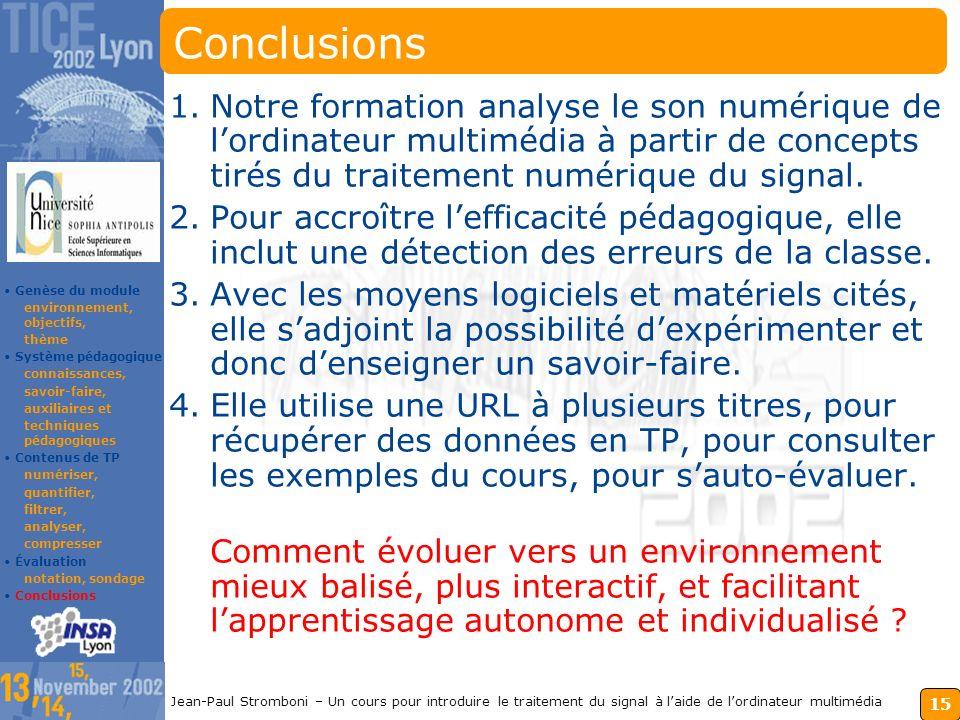 14 Jean-Paul Stromboni – Un cours pour introduire le traitement du signal à laide de lordinateur multimédia Évaluation du module et impact Évaluation,