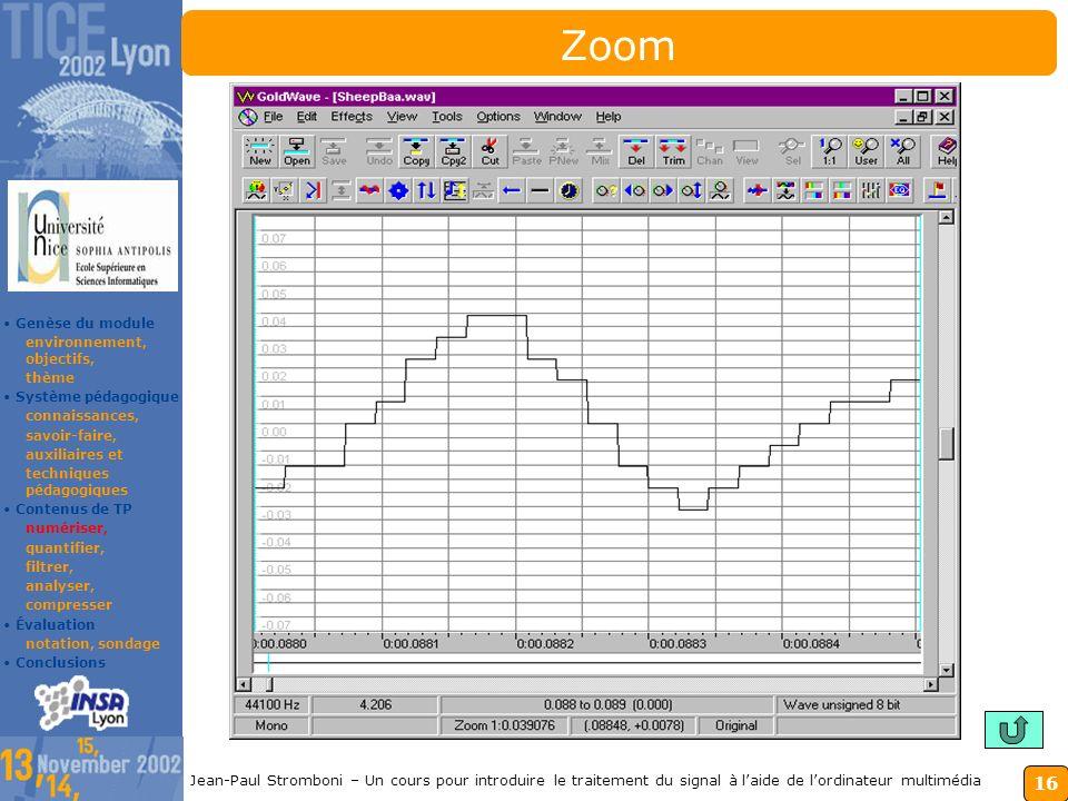 15 Jean-Paul Stromboni – Un cours pour introduire le traitement du signal à laide de lordinateur multimédia Conclusions 1.Notre formation analyse le s