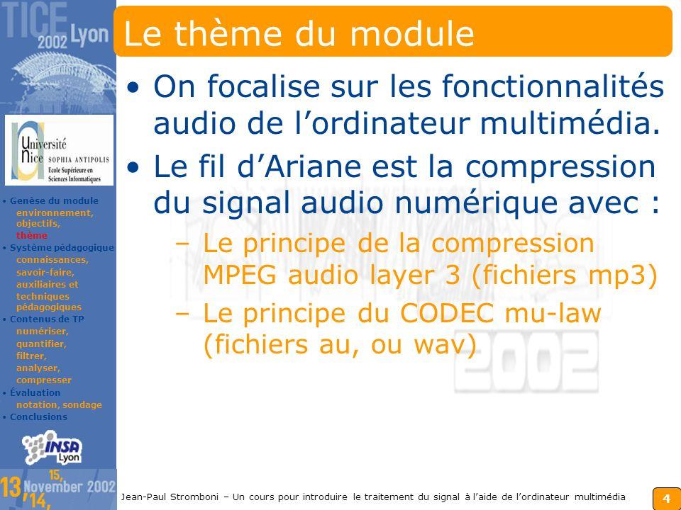 3 Jean-Paul Stromboni – Un cours pour introduire le traitement du signal à laide de lordinateur multimédia Les objectifs du module S.S.I.