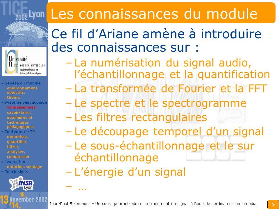 4 Jean-Paul Stromboni – Un cours pour introduire le traitement du signal à laide de lordinateur multimédia Le thème du module On focalise sur les fonctionnalités audio de lordinateur multimédia.