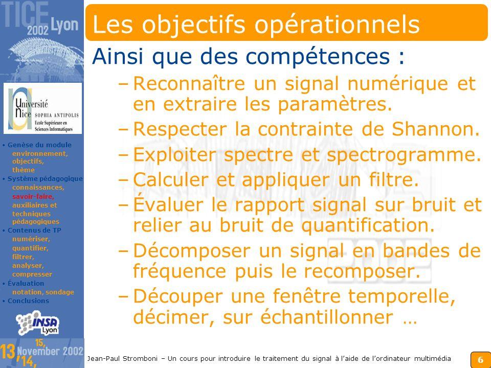 5 Jean-Paul Stromboni – Un cours pour introduire le traitement du signal à laide de lordinateur multimédia Les connaissances du module Ce fil dAriane