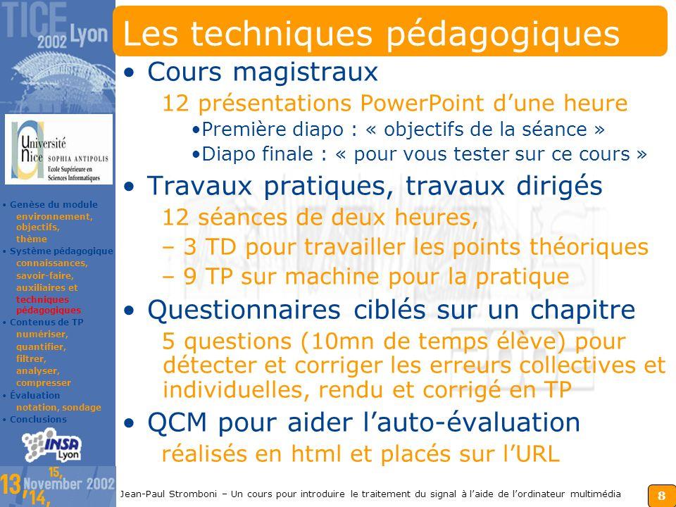 7 Jean-Paul Stromboni – Un cours pour introduire le traitement du signal à laide de lordinateur multimédia Les auxiliaires pédagogiques Le module S.S.I.
