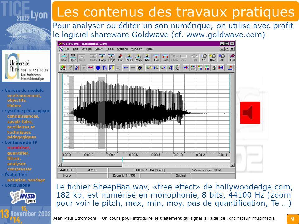 8 Jean-Paul Stromboni – Un cours pour introduire le traitement du signal à laide de lordinateur multimédia Les techniques pédagogiques Cours magistrau