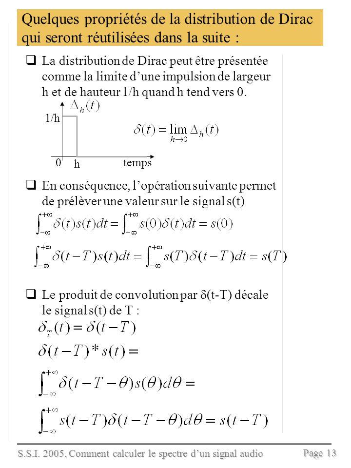 S.S.I. 2005, Comment calculer le spectre dun signal audio Page 12 Calcul du spectrogramme avec Matlab fe=8000; t=[0:16000]*(1/fe); s=0.5*cos(2*pi*880*