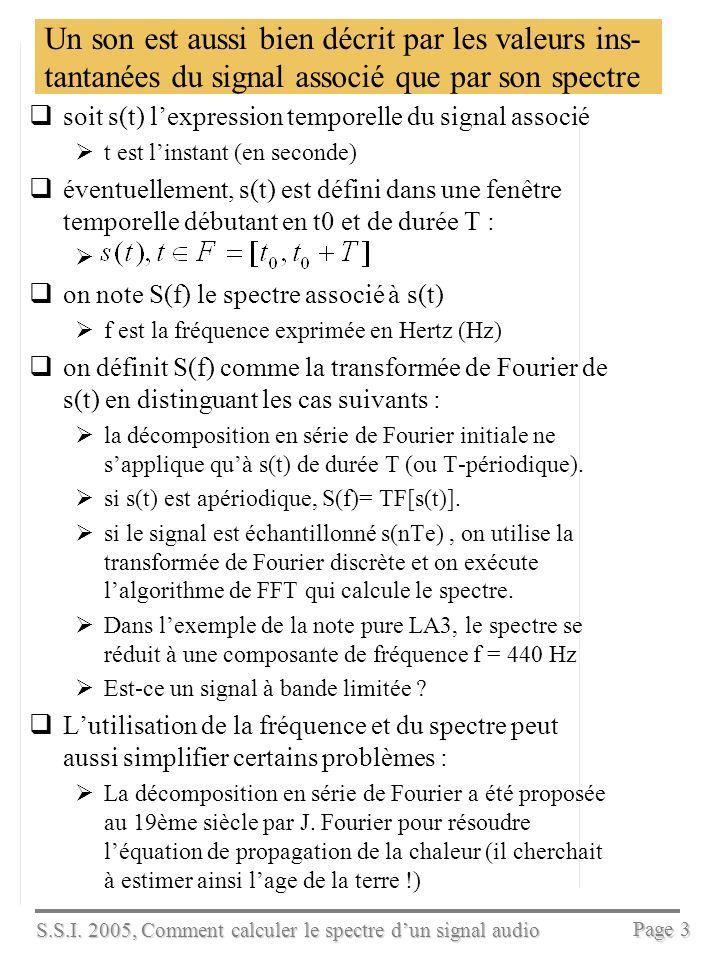 S.S.I. 2005, Comment calculer le spectre dun signal audio Page 2 Loreille humaine perçoit la composition fréquentielle des sons, cest-à-dire le «spect