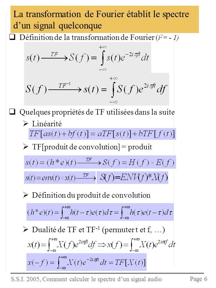 S.S.I. 2005, Comment calculer le spectre dun signal audio Page 5 La décomposition en séries de Fourier établit le spectre dun signal périodique ou de