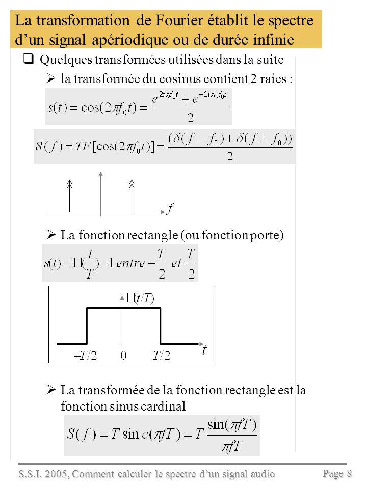 S.S.I. 2005, Comment calculer le spectre dun signal audio Page 7 La transformation de Fourier établit le spectre dun signal apériodique ou de durée in