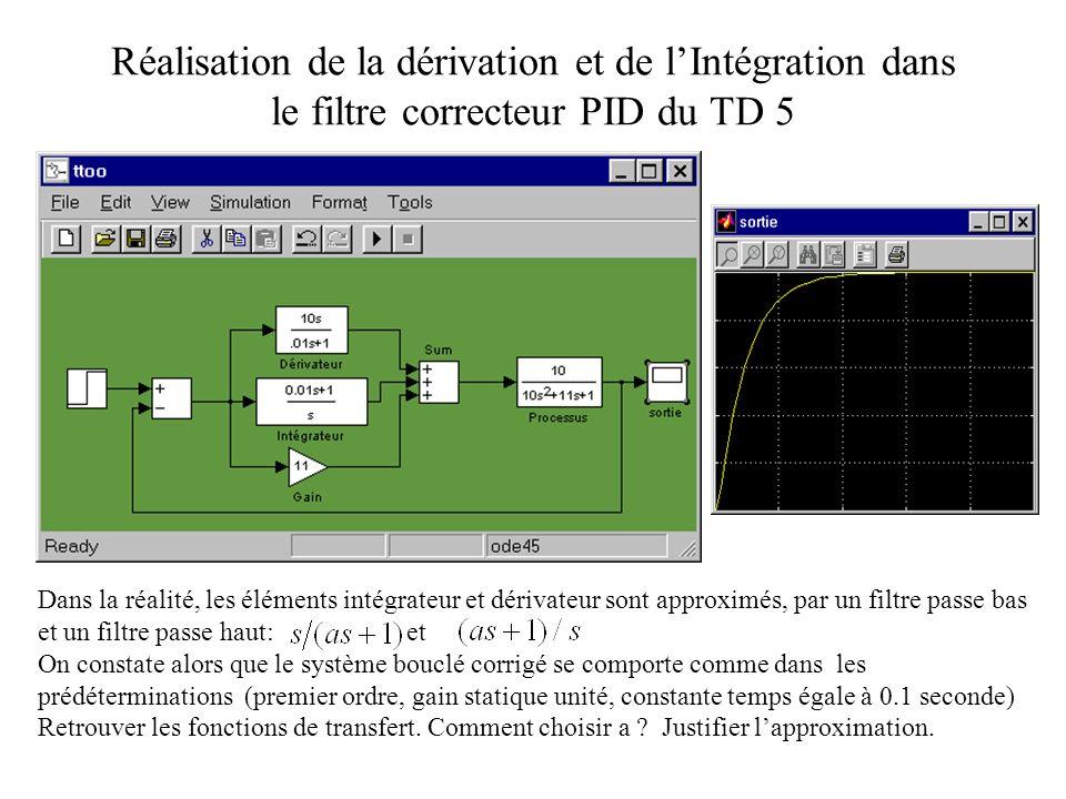 Réalisation de la dérivation et de lIntégration dans le filtre correcteur PID du TD 5 Dans la réalité, les éléments intégrateur et dérivateur sont app