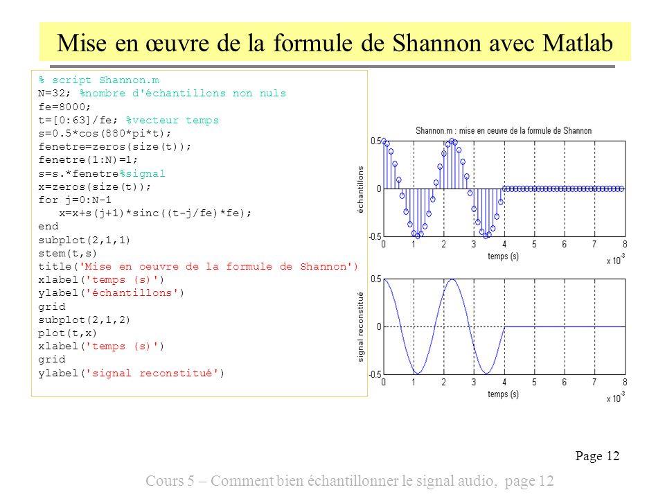 Cours 5 – Comment bien échantillonner le signal audio, page 12 Page 12 Mise en œuvre de la formule de Shannon avec Matlab % script Shannon.m N=32; %no
