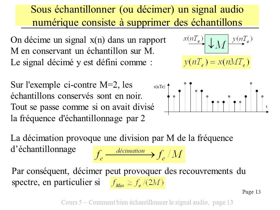 Cours 5 – Comment bien échantillonner le signal audio, page 13 Page 13 On décime un signal x(n) dans un rapport M en conservant un échantillon sur M.