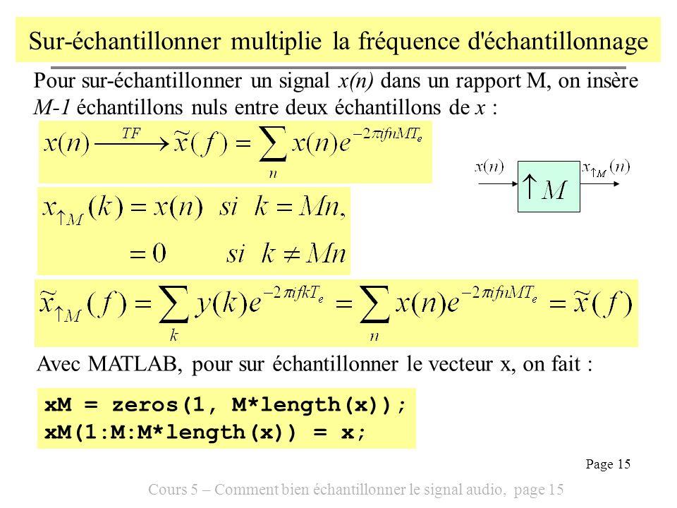 Cours 5 – Comment bien échantillonner le signal audio, page 15 Page 15 Sur-échantillonner multiplie la fréquence d'échantillonnage Pour sur-échantillo