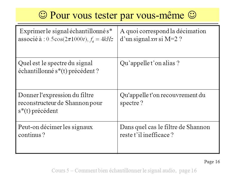 Cours 5 – Comment bien échantillonner le signal audio, page 16 Page 16 Exprimer le signal échantillonné s* associé à : A quoi correspond la décimation
