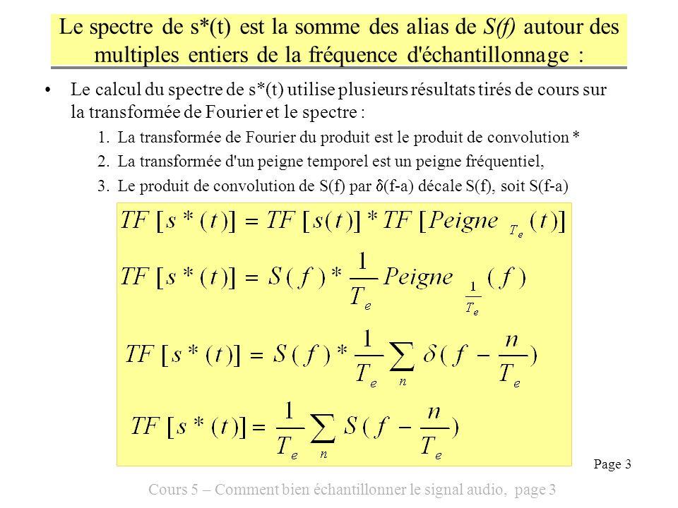 Cours 5 – Comment bien échantillonner le signal audio, page 14 Page 14 Sous échantillonner a un effet sur le spectre devient : Puisque conserver un échantillon sur M revient à diviser par M la fréquence déchantillonnage f e Avec MATLAB, pour décimer le vecteur sig dans un facteur M: >> sdecime = s(1:M:length(sig)) Il y a M fois plus dalias et ils sont divisés par M