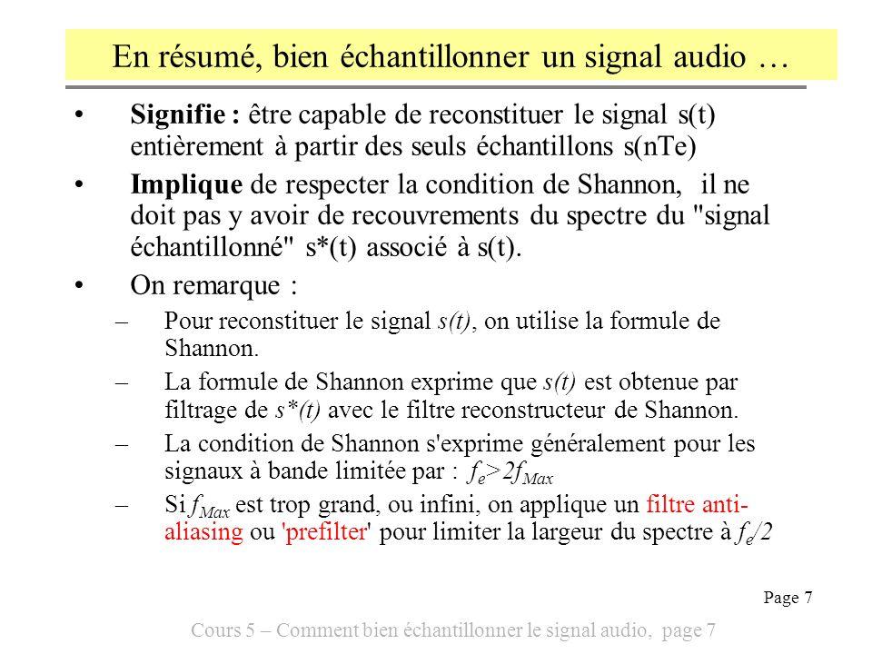 Cours 5 – Comment bien échantillonner le signal audio, page 8 Page 8 On peut illustrer laliasing ou démultiplication du spectre sur le cas particulièrement simple dun signal s 1 (t) sinusoïdal