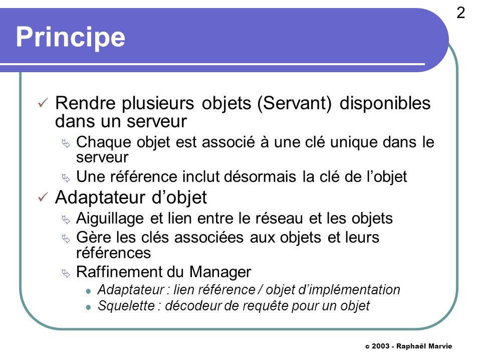 33 c 2003 - Raphaël Marvie Code ObjectAdapter public String obj2ref (Skeleton obj) { int key = this.skeletons.indexOf (obj) ; if (key == -1) return null ; String host = null ; try { host = InetAddress.getLocalHost ().getHostAddress () ; } catch (UnknownHostException uhe) { return null ; } int port = this.asock.getLocalPort () ; return host + : + port + : + key + : + obj.type () ; }