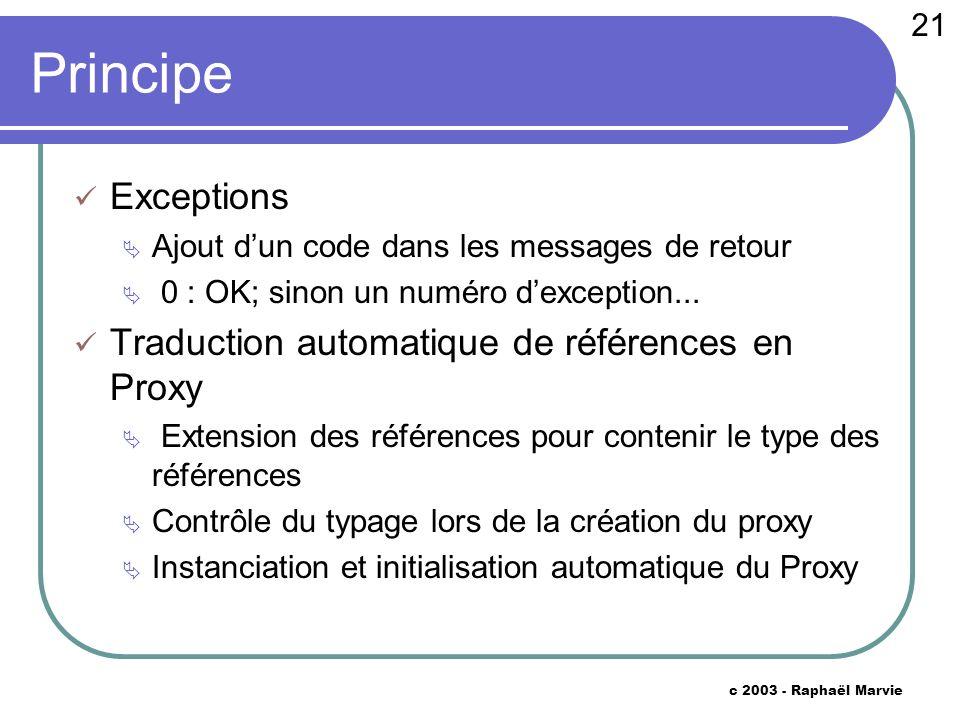 21 c 2003 - Raphaël Marvie Principe Exceptions Ajout dun code dans les messages de retour 0 : OK; sinon un numéro dexception...