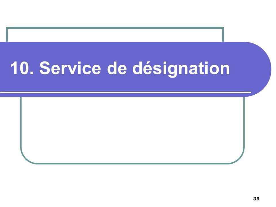 39 10. Service de désignation