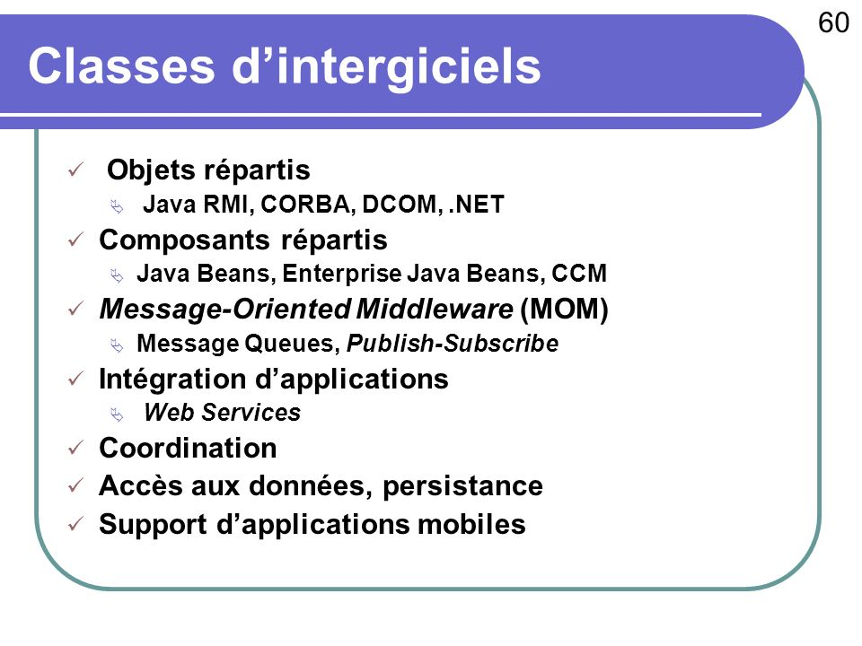 60 c 2003 - Raphaël Marvie Classes dintergiciels Objets répartis Java RMI, CORBA, DCOM,.NET Composants répartis Java Beans, Enterprise Java Beans, CCM