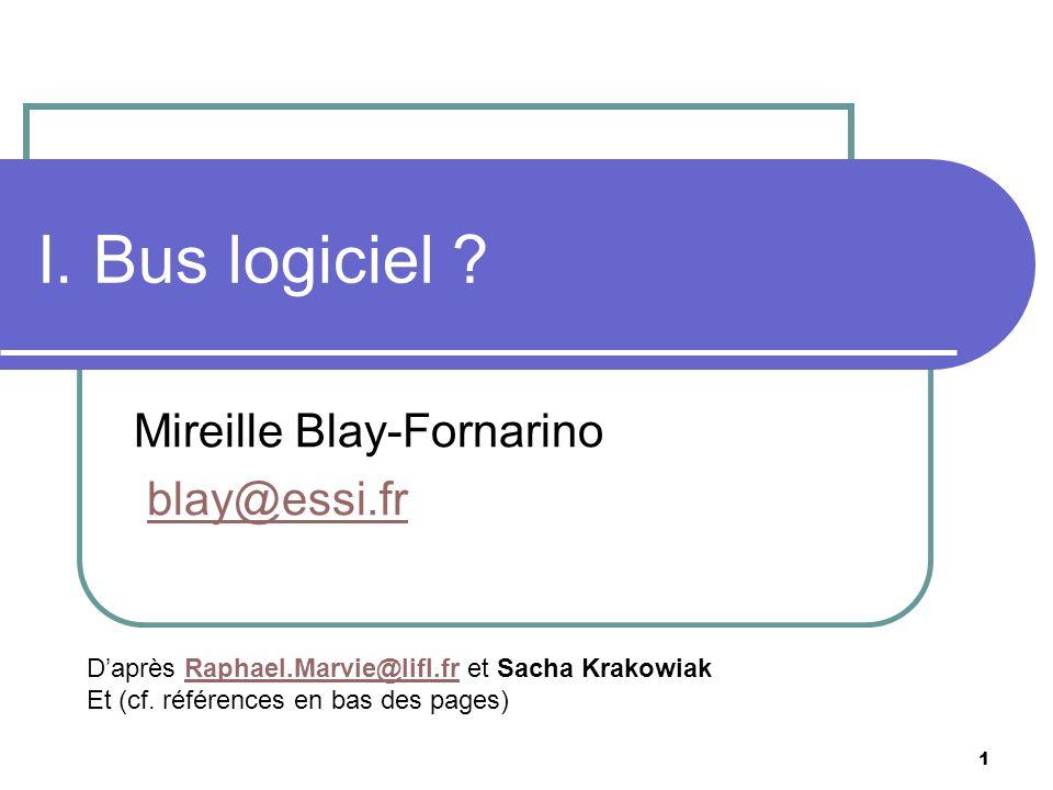 1 I. Bus logiciel ? Mireille Blay-Fornarino blay@essi.fr Daprès Raphael.Marvie@lifl.fr et Sacha KrakowiakRaphael.Marvie@lifl.fr Et (cf. références en