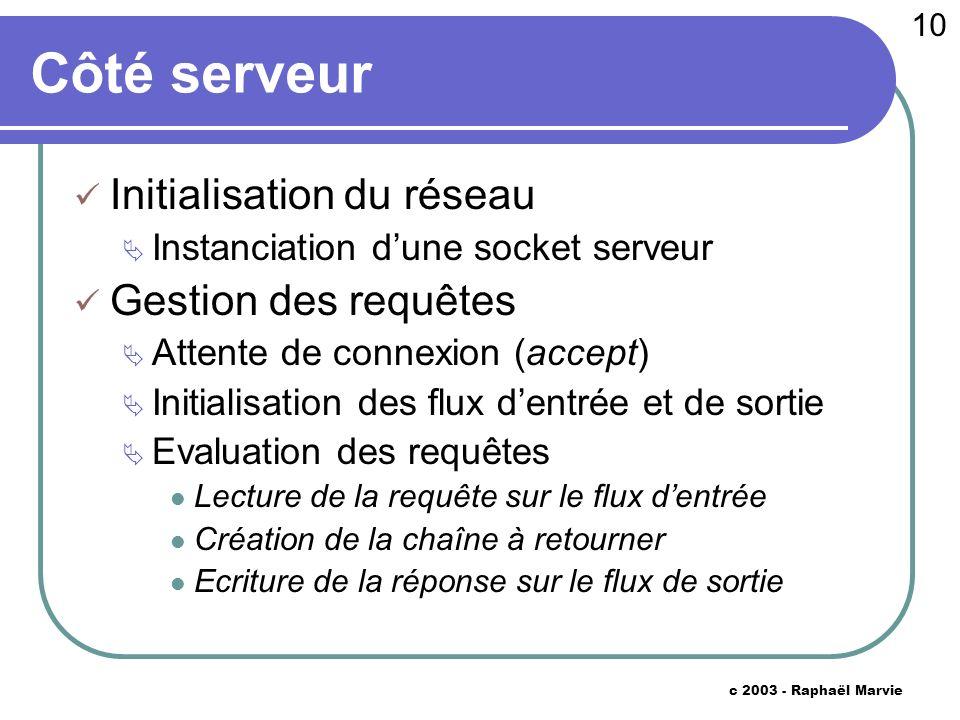 10 c 2003 - Raphaël Marvie Côté serveur Initialisation du réseau Instanciation dune socket serveur Gestion des requêtes Attente de connexion (accept)