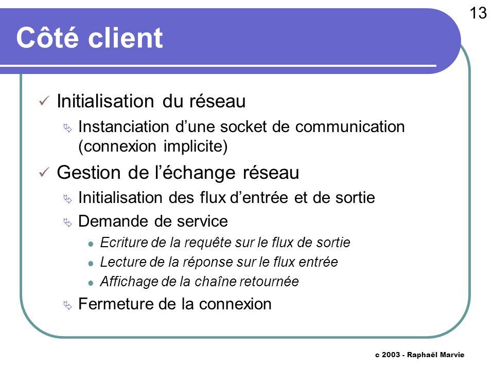 13 c 2003 - Raphaël Marvie Côté client Initialisation du réseau Instanciation dune socket de communication (connexion implicite) Gestion de léchange r