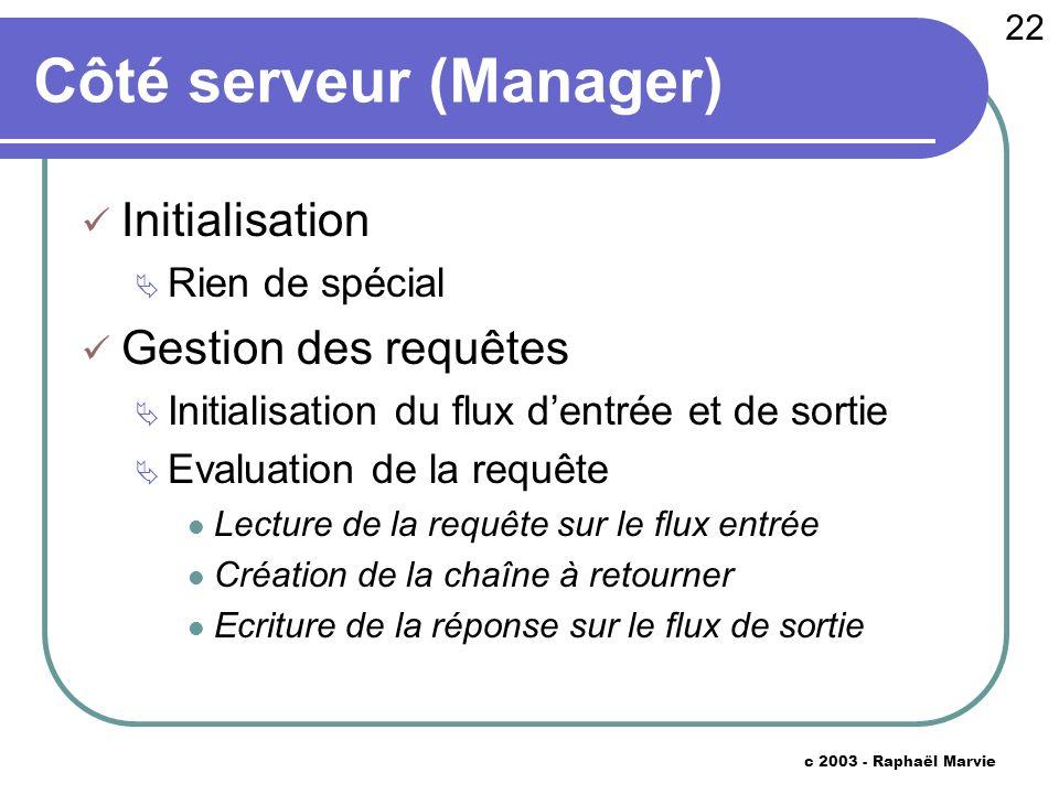22 c 2003 - Raphaël Marvie Côté serveur (Manager) Initialisation Rien de spécial Gestion des requêtes Initialisation du flux dentrée et de sortie Eval