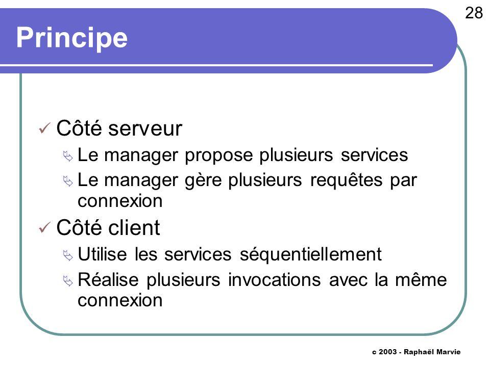 28 c 2003 - Raphaël Marvie Principe Côté serveur Le manager propose plusieurs services Le manager gère plusieurs requêtes par connexion Côté client Ut