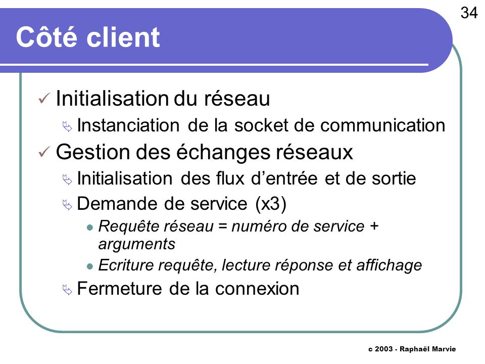 34 c 2003 - Raphaël Marvie Côté client Initialisation du réseau Instanciation de la socket de communication Gestion des échanges réseaux Initialisatio