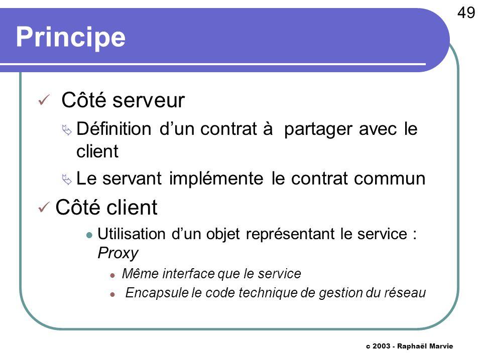 49 c 2003 - Raphaël Marvie Principe Côté serveur Définition dun contrat à partager avec le client Le servant implémente le contrat commun Côté client