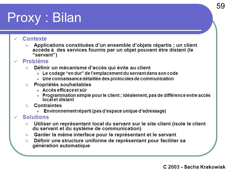 59 c 2003 - Raphaël Marvie Proxy : Bilan Contexte Applications constituées dun ensemble dobjets répartis ; un client accède à des services fournis par