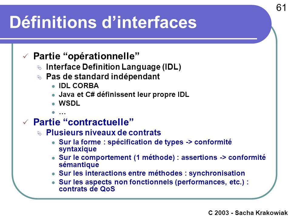 61 c 2003 - Raphaël Marvie Définitions dinterfaces Partie opérationnelle Interface Definition Language (IDL) Pas de standard indépendant IDL CORBA Jav