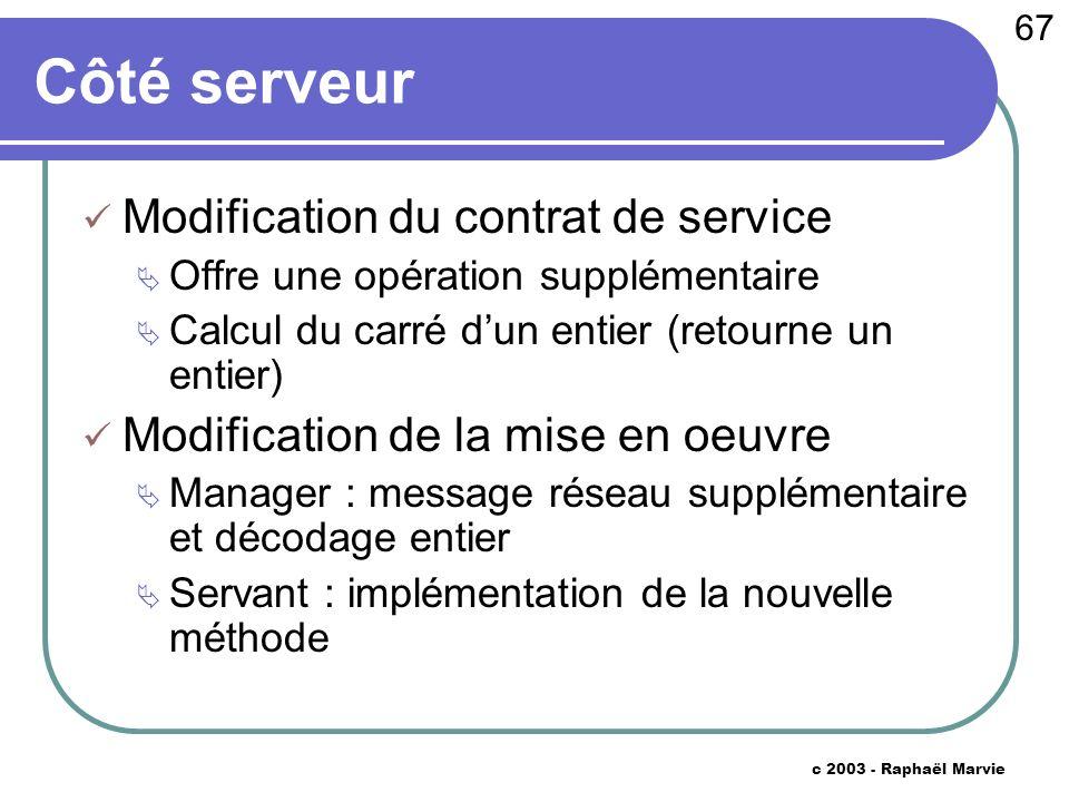 67 c 2003 - Raphaël Marvie Côté serveur Modification du contrat de service Offre une opération supplémentaire Calcul du carré dun entier (retourne un