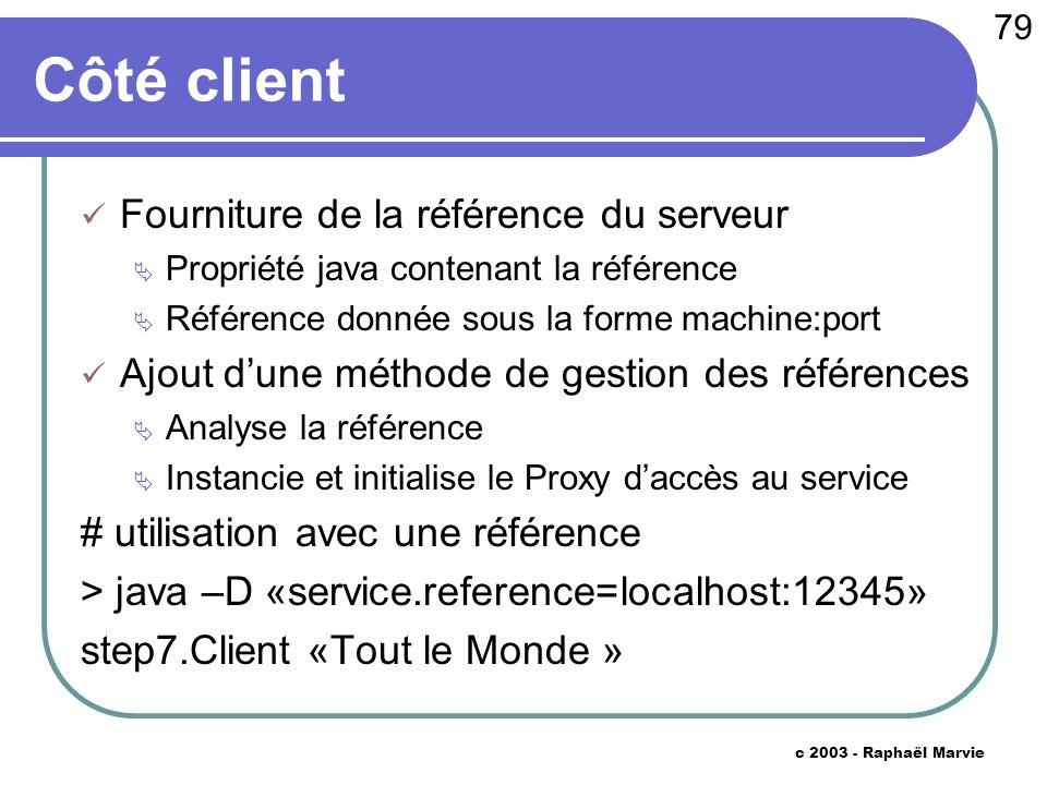 79 c 2003 - Raphaël Marvie Côté client Fourniture de la référence du serveur Propriété java contenant la référence Référence donnée sous la forme mach