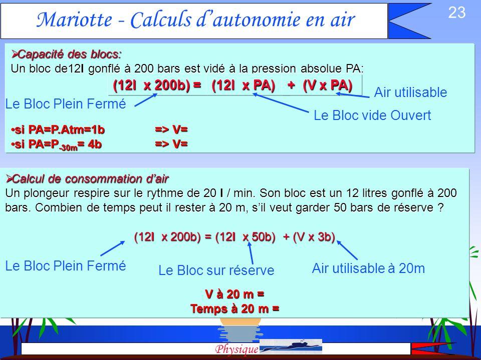 22 Mariotte & Archimède: Equilibrage Equilibrage: sans utiliser un gilet, il nest pas possible davoir une flottabilité neutre à toutes les profondeurs