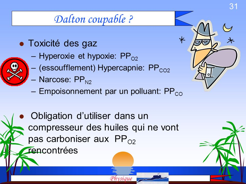 30 l La somme des pressions partielles des composants dun mélange est égale à la pression du mélange. l Pour lAir P Abs = PP N2 + PP O2 Et pour tous l