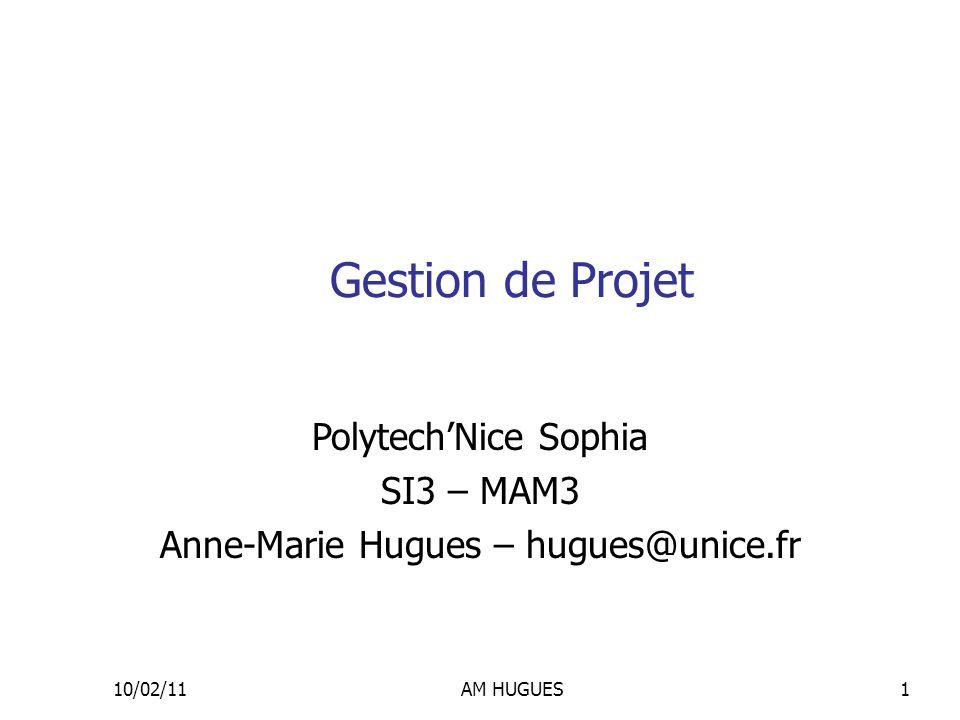 10/02/11AM HUGUES1 Gestion de Projet PolytechNice Sophia SI3 – MAM3 Anne-Marie Hugues – hugues@unice.fr