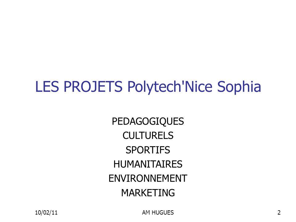 10/02/11AM HUGUES2 LES PROJETS Polytech'Nice Sophia PEDAGOGIQUES CULTURELS SPORTIFS HUMANITAIRES ENVIRONNEMENT MARKETING