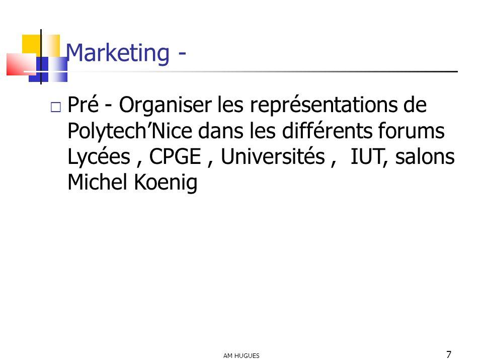 AM HUGUES 7 Marketing - Pré - Organiser les représentations de PolytechNice dans les différents forums Lycées, CPGE, Universités, IUT, salons Michel K