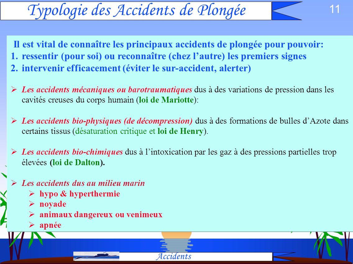 10 Réglementation Physique Matériel Accidents Physiologie Tables Barotraumatismes Intoxications Décompression Accidents Froid, Noyade, Apnée, Milieu C