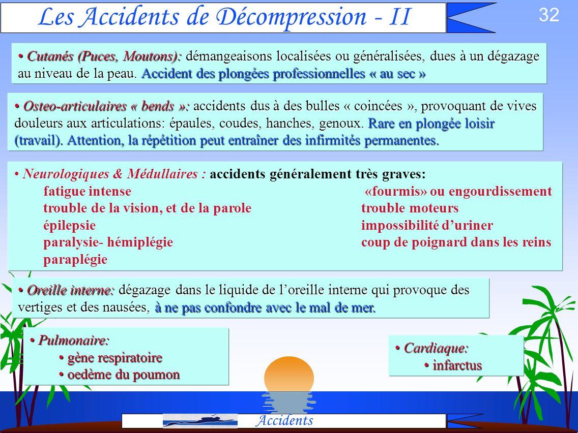 31 Les Accidents de Décompression - I Accidents Cause: Une désaturation trop rapide provoque la formation de bulles dazote dans des tissus. La nature